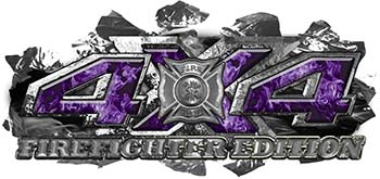 4x4 Firefighter Edition Ripped Torn Metal Tear Truck Quad or SUV Sticker Set / Decal Kit in Purple Inferno Flames