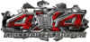 4x4 Firefighter Edition Ripped Torn Metal Tear Truck Quad or SUV Sticker Set / Decal Kit in Red Inferno Flames