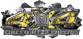 4x4 Firefighter Edition Ripped Torn Metal Tear Truck Quad or SUV Sticker Set / Decal Kit in Yellow Inferno Flames