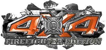 4x4 Firefighter Edition Ripped Torn Metal Tear Truck Quad or SUV Sticker Set / Decal Kit in Orange