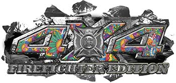 4x4 Firefighter Edition Ripped Torn Metal Tear Truck Quad or SUV Sticker Set / Decal Kit in Psychedelic Art