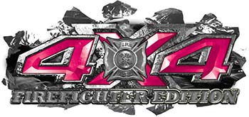 4x4 Firefighter Edition Ripped Torn Metal Tear Truck Quad or SUV Sticker Set / Decal Kit in Pink