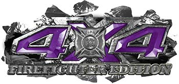 4x4 Firefighter Edition Ripped Torn Metal Tear Truck Quad or SUV Sticker Set / Decal Kit in Purple