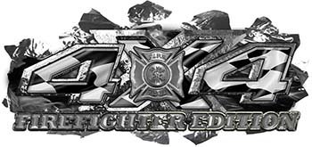 4x4 Firefighter Edition Ripped Torn Metal Tear Truck Quad or SUV Sticker Set / Decal Kit with Racing Checkered Flag