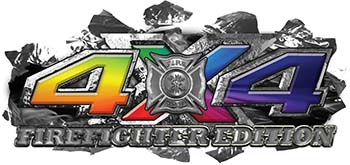 4x4 Firefighter Edition Ripped Torn Metal Tear Truck Quad or SUV Sticker Set / Decal Kit with Rainbow Colors
