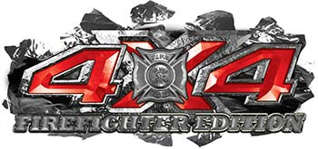 4x4 Firefighter Edition Ripped Torn Metal Tear Truck Quad or SUV Sticker Set / Decal Kit in Red