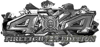 4x4 Firefighter Edition Ripped Torn Metal Tear Truck Quad or SUV Sticker Set / Decal Kit in Silver