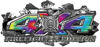 4x4 Firefighter Edition Ripped Torn Metal Tear Truck Quad or SUV Sticker Set / Decal Kit in Tie Dye Colors