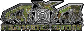 4x4 Firefighter Edition Truck Quad or SUV Decal Kit with Flames and Fire Rescue Maltese Cross in Camouflage
