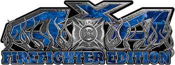 4x4 Firefighter Edition Truck Quad or SUV Decal Kit with Flames and Fire Rescue Maltese Cross in Blue Camouflage