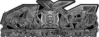 4x4 Firefighter Edition Truck Quad or SUV Decal Kit with Flames and Fire Rescue Maltese Cross in Gray Camouflage