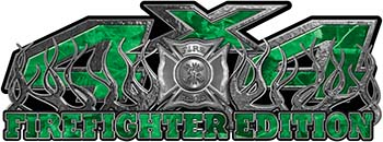 4x4 Firefighter Edition Truck Quad or SUV Decal Kit with Flames and Fire Rescue Maltese Cross in Green Camouflage