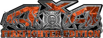 4x4 Firefighter Edition Truck Quad or SUV Decal Kit with Flames and Fire Rescue Maltese Cross in Orange Camouflage