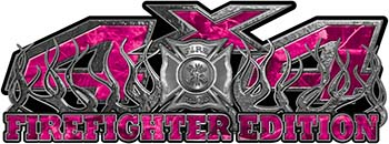 4x4 Firefighter Edition Truck Quad or SUV Decal Kit with Flames and Fire Rescue Maltese Cross in Pink Camouflage