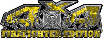 4x4 Firefighter Edition Truck Quad or SUV Decal Kit with Flames and Fire Rescue Maltese Cross in Yellow Camouflage