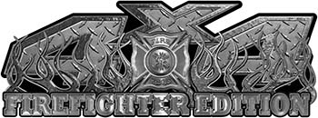 4x4 Firefighter Edition Truck Quad or SUV Decal Kit with Flames and Fire Rescue Maltese Cross in Diamond Plate