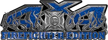 4x4 Firefighter Edition Truck Quad or SUV Decal Kit with Flames and Fire Rescue Maltese Cross in Blue Diamond Plate