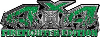 4x4 Firefighter Edition Truck Quad or SUV Decal Kit with Flames and Fire Rescue Maltese Cross in Green Diamond Plate