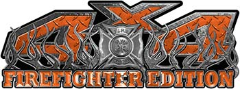 4x4 Firefighter Edition Truck Quad or SUV Decal Kit with Flames and Fire Rescue Maltese Cross in Orange Diamond Plate