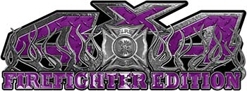 4x4 Firefighter Edition Truck Quad or SUV Decal Kit with Flames and Fire Rescue Maltese Cross in Purple Diamond Plate