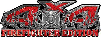 4x4 Firefighter Edition Truck Quad or SUV Decal Kit with Flames and Fire Rescue Maltese Cross in Red Diamond Plate