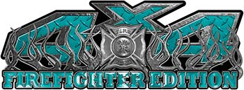 4x4 Firefighter Edition Truck Quad or SUV Decal Kit with Flames and Fire Rescue Maltese Cross in Teal Diamond Plate