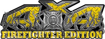 4x4 Firefighter Edition Truck Quad or SUV Decal Kit with Flames and Fire Rescue Maltese Cross in Yellow Diamond Plate