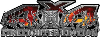 4x4 Firefighter Edition Truck Quad or SUV Decal Kit with Flames and Fire Rescue Maltese Cross in Real Fire