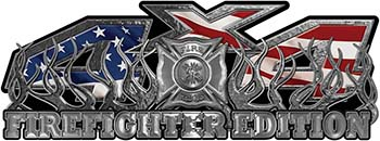 4x4 Firefighter Edition Truck Quad or SUV Decal Kit with Flames and Fire Rescue Maltese Cross with American Flag