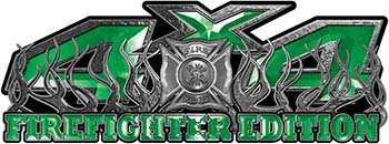 4x4 Firefighter Edition Truck Quad or SUV Decal Kit with Flames and Fire Rescue Maltese Cross in Green