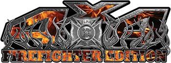4x4 Firefighter Edition Truck Quad or SUV Decal Kit with Flames and Fire Rescue Maltese Cross in Inferno Flames