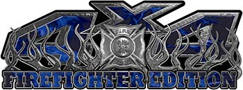 4x4 Firefighter Edition Truck Quad or SUV Decal Kit with Flames and Fire Rescue Maltese Cross in Blue Inferno Flames