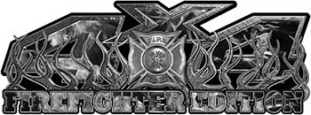 4x4 Firefighter Edition Truck Quad or SUV Decal Kit with Flames and Fire Rescue Maltese Cross in Gray Inferno Flames