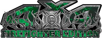4x4 Firefighter Edition Truck Quad or SUV Decal Kit with Flames and Fire Rescue Maltese Cross in Green Inferno Flames