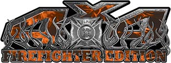 4x4 Firefighter Edition Truck Quad or SUV Decal Kit with Flames and Fire Rescue Maltese Cross in Orange Inferno Flames