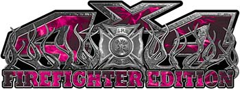 4x4 Firefighter Edition Truck Quad or SUV Decal Kit with Flames and Fire Rescue Maltese Cross in Pink Inferno Flames