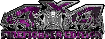 4x4 Firefighter Edition Truck Quad or SUV Decal Kit with Flames and Fire Rescue Maltese Cross in Purple Inferno Flames