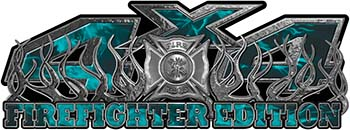 4x4 Firefighter Edition Truck Quad or SUV Decal Kit with Flames and Fire Rescue Maltese Cross in Teal Inferno Flames