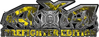 4x4 Firefighter Edition Truck Quad or SUV Decal Kit with Flames and Fire Rescue Maltese Cross in Yellow Inferno Flames