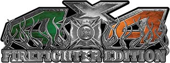 4x4 Firefighter Edition Truck Quad or SUV Decal Kit with Flames and Fire Rescue Maltese Cross with Irish Flag