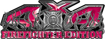4x4 Firefighter Edition Truck Quad or SUV Decal Kit with Flames and Fire Rescue Maltese Cross in Pink