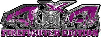 4x4 Firefighter Edition Truck Quad or SUV Decal Kit with Flames and Fire Rescue Maltese Cross in Purple