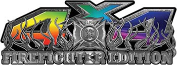 4x4 Firefighter Edition Truck Quad or SUV Decal Kit with Flames and Fire Rescue Maltese Cross in Rainbow Colors