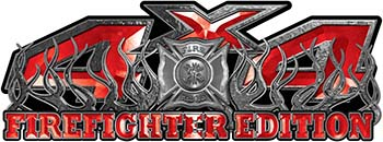 4x4 Firefighter Edition Truck Quad or SUV Decal Kit with Flames and Fire Rescue Maltese Cross in Red
