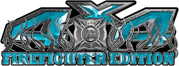 4x4 Firefighter Edition Truck Quad or SUV Decal Kit with Flames and Fire Rescue Maltese Cross in Teal