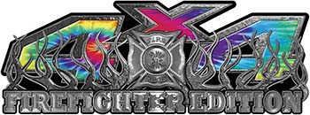 4x4 Firefighter Edition Truck Quad or SUV Decal Kit with Flames and Fire Rescue Maltese Cross in Tie Dye Colors