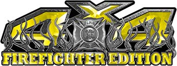 4x4 Firefighter Edition Truck Quad or SUV Decal Kit with Flames and Fire Rescue Maltese Cross in Yellow