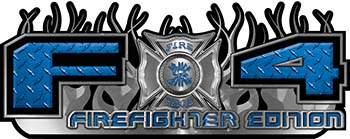 2015 Ford 4x4 Truck FX4 Firefighter Edition Style Decal Kit in Blue Diamond Plate