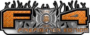2015 Ford 4x4 Truck FX4 Firefighter Edition Style Decal Kit in Orange Diamond Plate