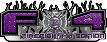2015 Ford 4x4 Truck FX4 Firefighter Edition Style Decal Kit in Purple Diamond Plate